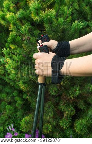 Nordic Walking In A Summer Park. Close-up Of Women's Hands With Nordic Walking Sticks On A Backgroun