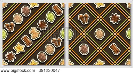 Vector Spice Seamless Patterns, 2 Square Repeating Spice Backgrounds, Set Of Isolated Illustrations