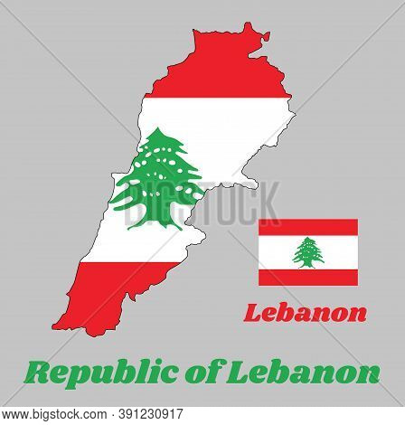Map Outline And Flag Of Lebanon, It Is A Horizontal Triband Of Red And White, Charged With A Green L