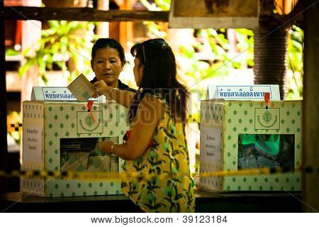 KO CHANG, THAILAND - NOVEMBER 18: Unidentified participants at local Ko Chang Elections, November 18, 2012 on Ko Chang island, Thailand. Elections have their own district councils and Mayor, 4 years cycle.
