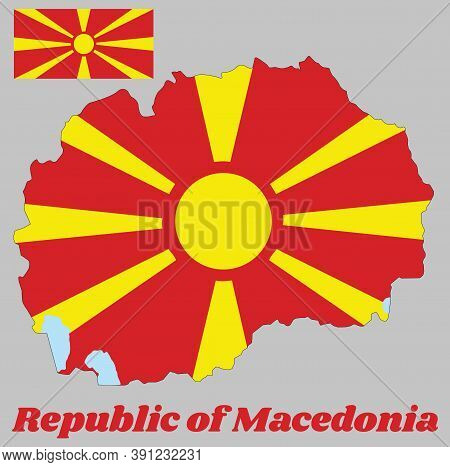 Map Outline And Flag Of Macedonia, A Stylised Yellow Sun On A Red Field, With Eight Broadening Rays