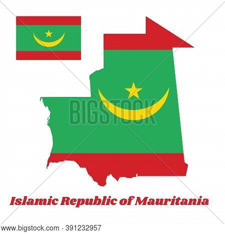 Map Outline And Flag Of Mauritania, Two Red Stripes Flanking A Green Field; Charged With A Golden Up