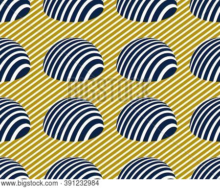 Hemispheres Lined Optical Illusion Seamless Pattern, Vector Repeat Tiling Op Art Background, Psyched
