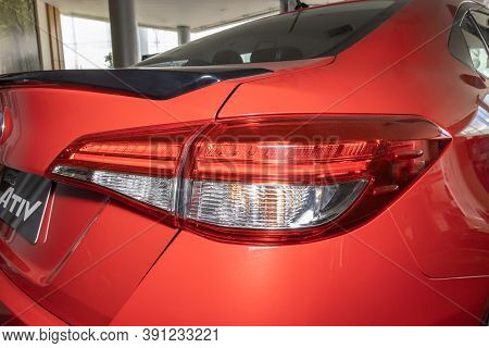 Phayao, Thailand - Sep 13, 2020: Right Taillight Or Tail Lamp Of Red Yaris Ativ 2020 In Car Dealersh