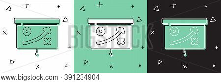 Set Planning Strategy Concept Icon Isolated On White And Green, Black Background. Cup Formation And