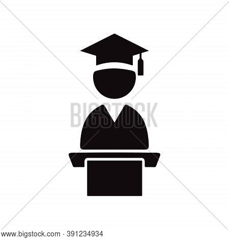 University Graduation Student Speaking At Tribune. Graduation Ceremony Sign.