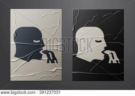 White Vomiting Man Icon Isolated On Crumpled Paper Background. Symptom Of Disease, Problem With Heal