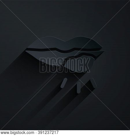 Paper Cut Herpes Lip Icon Isolated On Black Background. Herpes Simplex Virus. Labial Infection Infla