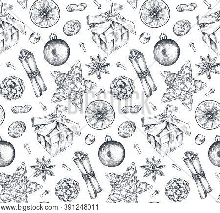 Seamless Pattern With Christmas And Citrus Fruit. Hand Drawn Sketch Vector Illustration