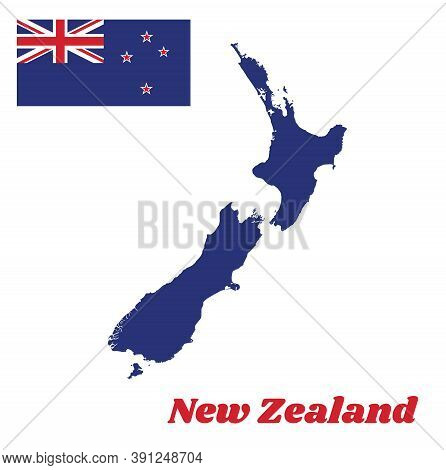 Map Outline And Flag Of New Zealand, A Blue Ensign With The Southern Cross Of Four White-edged Red F