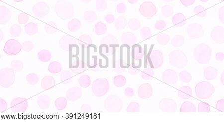 Pink Seamless Girly Wallpaper. Decorative Feminine Texture. Bokeh Circular Painting. Fashion Circle