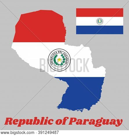 Map Outline And Flag Of Paraguay, A Horizontal Triband Of Red, White And Blue, With The Coat Of Arms