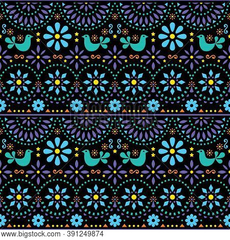 Mexican Folk Art Vector Seamless Geometric Pattern With Flowers, Fiesta Design Inspired By Tradition