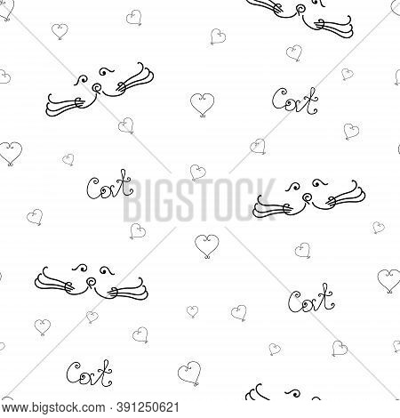 Seamless Pattern Of Cat Muzzle. Cat Love Pattern. Black Contours On A White Background. Cat Letterin