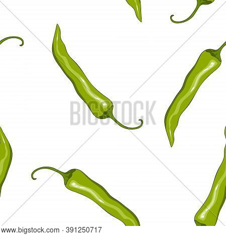 Seamless Pattern Green Chilli Pepper. Peppers Background. Hand Drawing Chilli Pepper. Vector Illustr