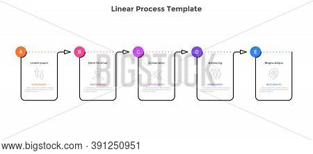 Linear Progress Bar With Fiverectangular Elements Connected By Arrows. Concept Of 5 Steps Of Progres