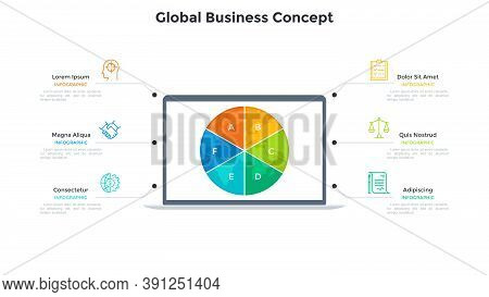 Planet Earth Divided Into 6 Sectors On Screen Of Laptop Computer. Concept Of Six Features Of Global