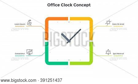 Square Clock Face And 4 Options. Concept Of Four Steps To Productivity And Effective Time Planning.