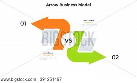 Comparison Chart With Two Arrows Pointing In Opposite Directions. Concept Of Business Model With 2 O