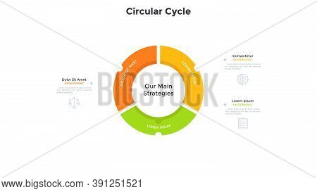 Ring-like Pie Diagram Divided Into 3 Colorful Parts. Concept Of Business Development Cycle With Thre