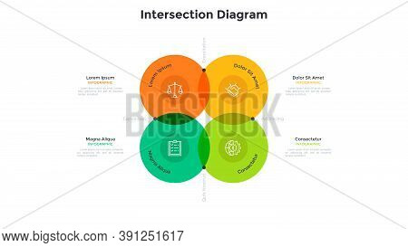 Venn Diagram With Four Intersected Colorful Translucent Round Elements. Concept Of 4 Features Of Mar