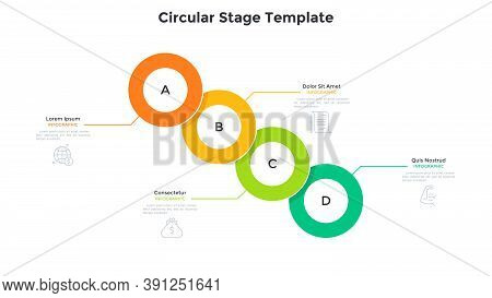 Process Chart With Four Overlaid Colorful Round Elements Placed In Diagonal Row. Concept Of 4 Steps