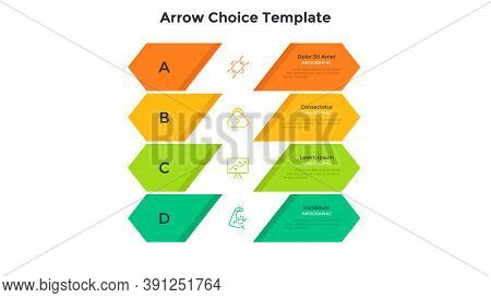Four Colorful Arrow-like Elements Placed One Below Other. Concept Of 4 Levels Of Business Project De