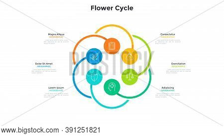 Flower Cyclic Chart With 6 Colorful Round Elements. Concept Of Six Options Of Startup Project. Moder