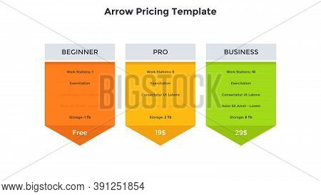 Three Arrow-like Pricing Tables With List Of Included Features - Beginner, Pro, Business. Concept Of