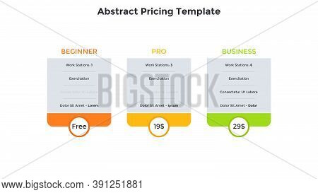Three Abstract Pricing Tables Or Subscription Plans To Choose With List Of Included Features. Beginn