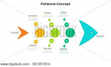 Fishbone Chart With Five Connected Elements. Concept Of 5 Stages Of Fishery Business Development Pro