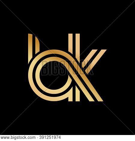 Lowercase Letters B And K. Flat Bound Design In A Golden Hue For A Logo, Brand, Or Logo. Vector Illu