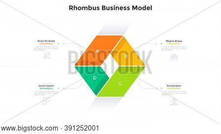Business Model With Four Colorful Rhombus-like Elements Connected Together. Concept Of 4 Features Of