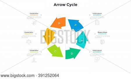 Cyclic Round Chart With 6 Colorful Arrows. Concept Of Six Stages Of Project Development Cycle. Moder