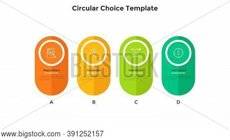 Four Colorful Rounded Or Oval Elements Placed In Horizontal Row. Concept Of 4 Business Options To Ch