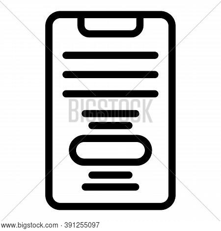 Smartphone Text Request Icon. Outline Smartphone Text Request Vector Icon For Web Design Isolated On