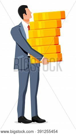 Successful Businessman Holding Stack Of Big Dollar Coins. Business Man With Golden Coin. Business Su