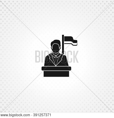 Speaker Icon. Orator Speaking From Tribune Isolated Solid Vector Icon