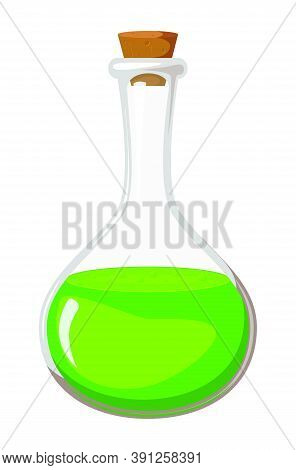 Magic Potion Isolated On White. Green Poison Flask Illustration. Toxic Bubble For Halloween Design.