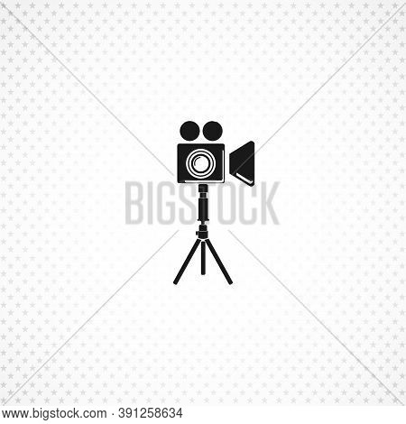 Camera Tripod Isolated Solid Vector Icon On White Background