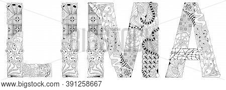 Capital Of Peru City Lima. Vector Decorative Zentangle Object For Coloring