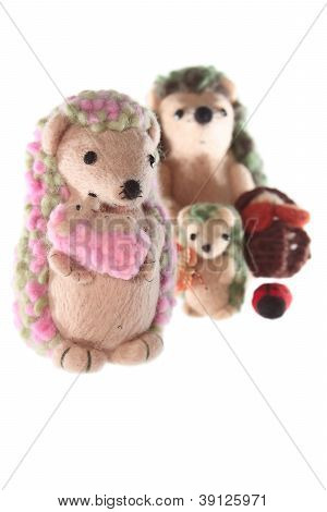 Handmade Hedgehog Toy Family