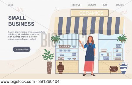 Small Business And Self-employment Concept. A Woman Entrepreneur Stands At Entrance To Her Small For