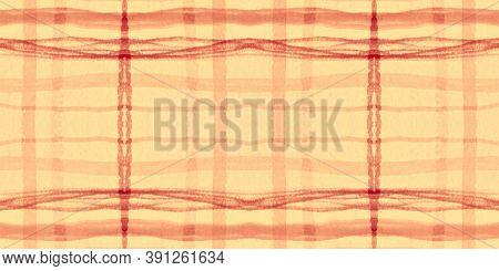 Orange Tartan Pattern. Watercolor Check Repeat. Color Stripes For Fabric Design. Seamless Autumn Tar