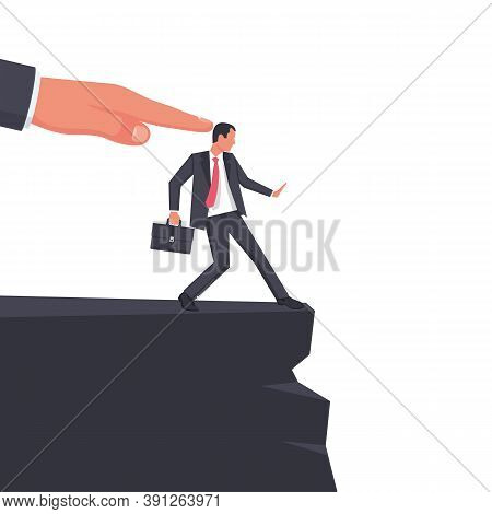Big Hand Of Leader Pushes Subordinate Employee Into Abyss. Standing On Cliff. Danger Of Falling Into