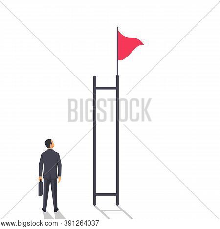 The Difficulty Of Achieving. A Businessman Faces A Difficult Decision. A Flag At The Top Of A Broken