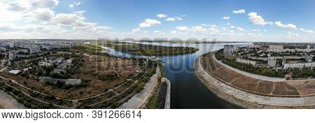 The Confluence Of The Volga River And The Volga-don Lenin Shipping Canal. Volgograd. Russia