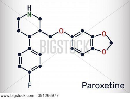Paroxetine, Antidepressant, Selective Serotonin Reuptake Inhibitor Ssri, Molecule. It Is Used In The