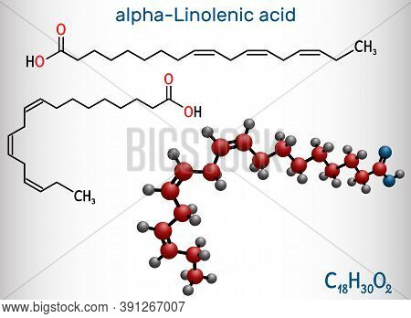 Alpha-linolenic Acid, Ala Molecule. Carboxylic, Polyunsaturated Omega-3 Fatty Acid. Component Of Man