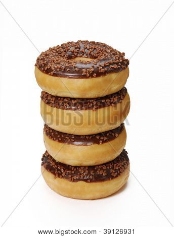 Chocolate dough nuts on white background,